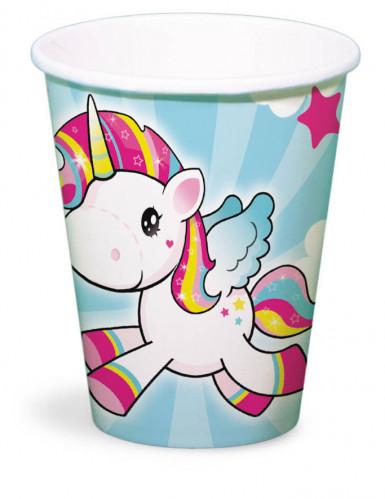 8 bicchieri di cartone piccolo unicorno