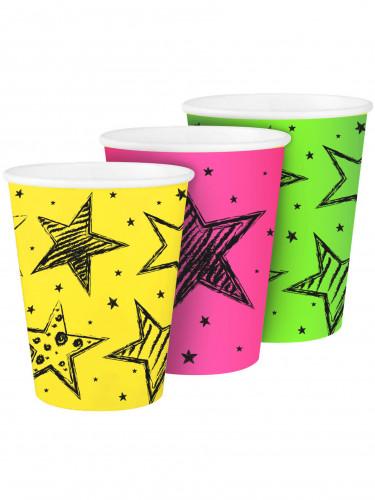 6 bicchieri di cartone Neon party