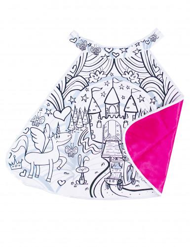 Mantello double face con castello da colorare per bambina
