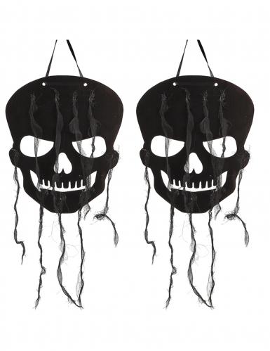 2 decorazioni teschi neri Halloween
