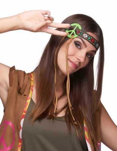 Fascia hippie verde peace per adulto-1