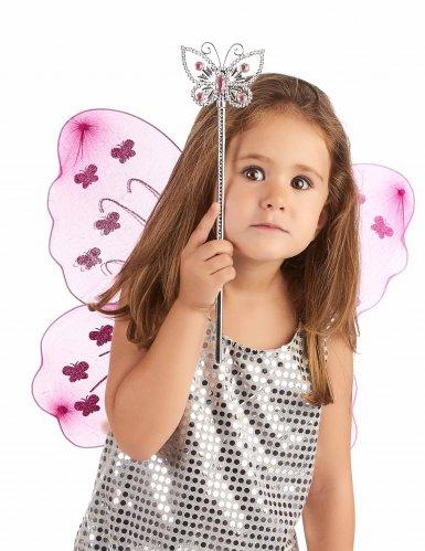 Bacchetta magica con farfalla rosa per adulto e bambino-1
