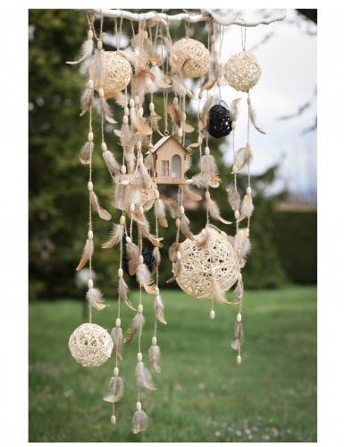 Ghirlanda di piume e legno-1