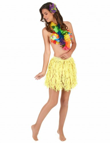 Gonna hawaiana corta gialla per adulto