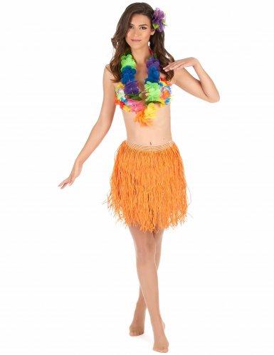 Gonna hawaiana corta arancione per adulto