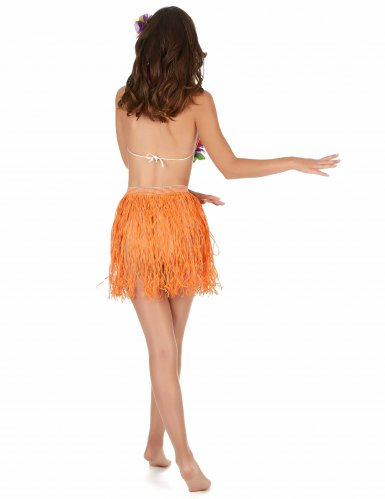 Gonna hawaiana corta arancione per adulto-1