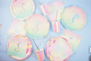 12 piatti di plastica pastello con sirena iridescente 20 cm-1