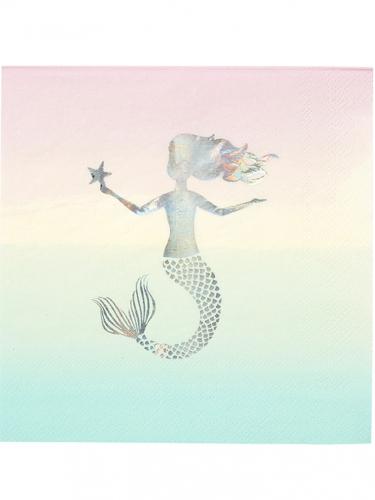 16 tovaglioli di carta pastello con sirena iridescente
