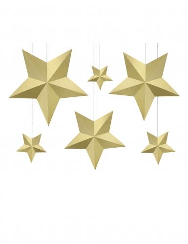 6 stelle da appendere 3D dorate