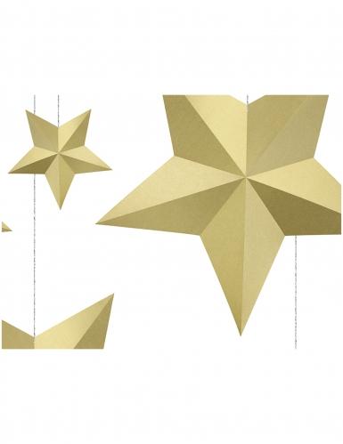 6 stelle da appendere 3D dorate-1