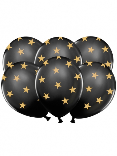 6 palloncini in lattice nero con stelle dorate