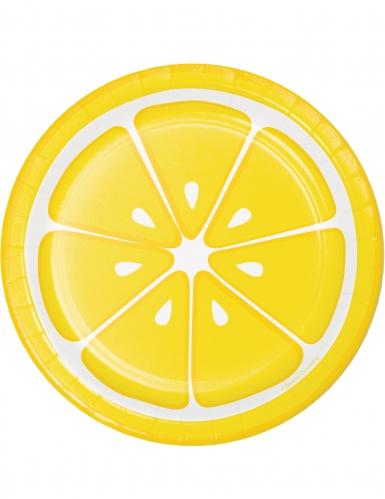 8 piattini in cartone limone 18 cm