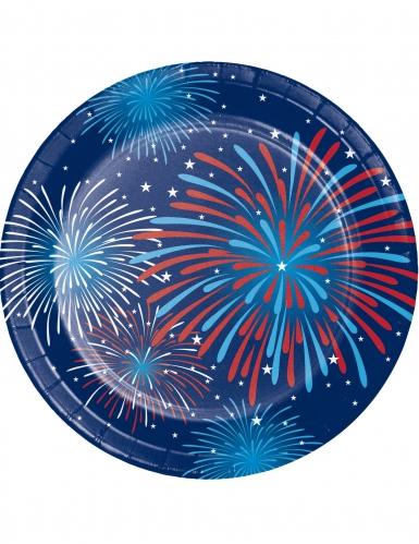8 piattini di cartone fuochi artificio USA 18 cm