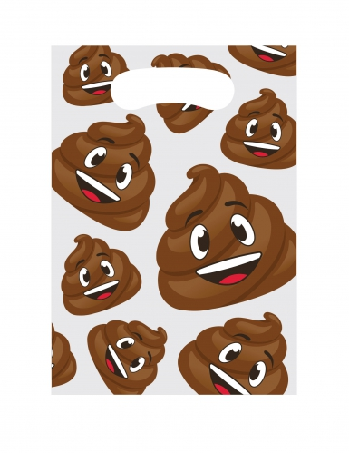 8 sacchetti emoticons in plastica con cacca