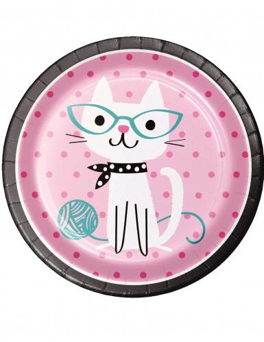 8 piatti in cartone gattino vintage 22 cm