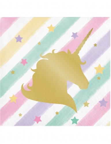 16 tovagliolini di carta a righe unicorno pastello