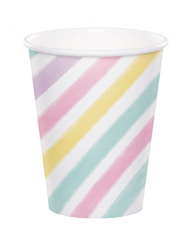 8 bicchieri in cartone a righe unicorno