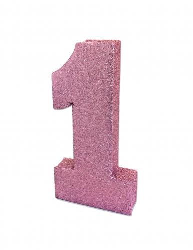Decorazione da tavola 1 anno rosa con brillantini 20 x 10 x 3 cm