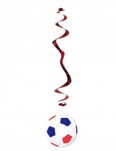 6 sospensioni a spirale pallone da calcio bianco blu e rosso