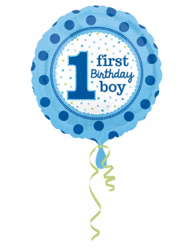Palloncino alluminio First Birthday Boy blu