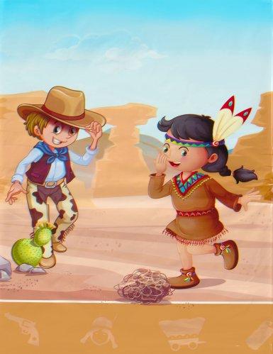 Tovaglia in plastica cowboy e indiani-1
