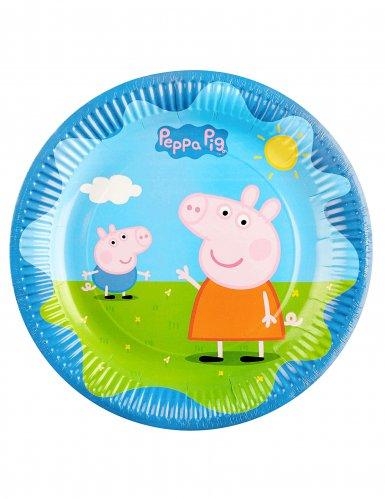 6 piatti di cartone colorati Peppa Pig™ 23 cm