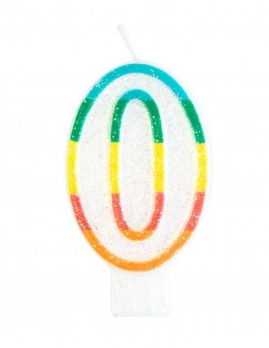 Candelina colorata con brillantini numero 0