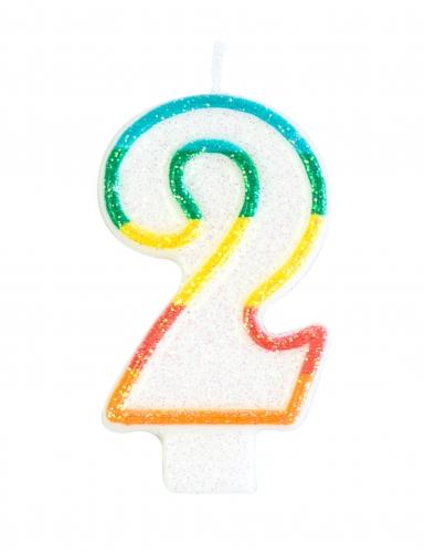 Candelina colorata con brillantini numero 2