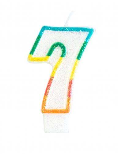 Candelina colorata con brillantini numero 7