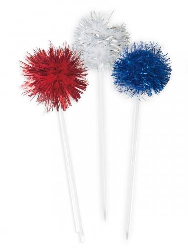 8 bastoncini con pon pon rossi blu e argento