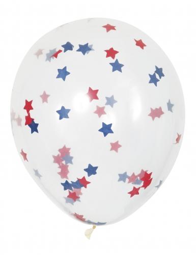 5 palloncini trasparenti con coriandoli stelle rosse e blu