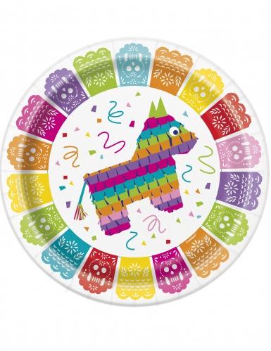 8 piatti in cartone festa messicana 23 cm