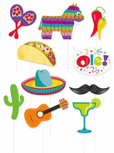 Kit photobooth 10 accessori festa messicana