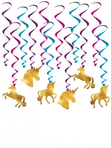 12 spirali da appendere con unicorno oro