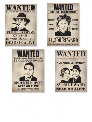 4 annunci decorativi Wanted