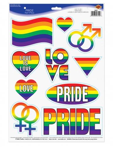 10 adesivi peace & love arcobaleno
