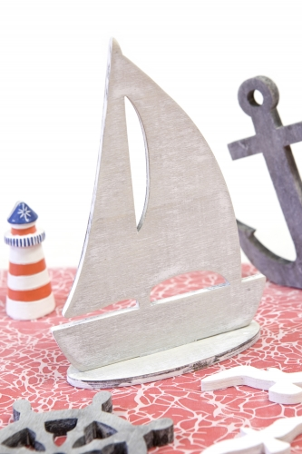 Barca a vela decorativa grigia-1