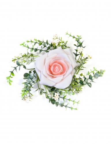 Cnetrotavola con foglie e rosa color rosa