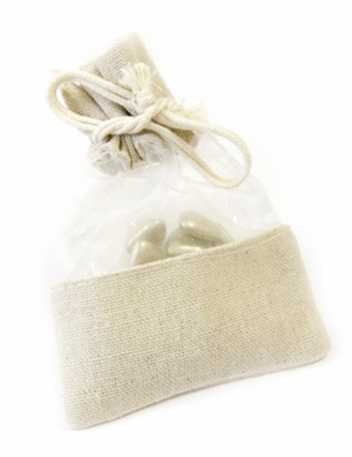 5 sacchetti organza e tela naturale