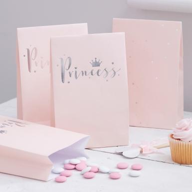 8 sacchetti regalo di carta rosa Princess-1
