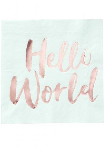20 tovaglioli di carta Hello World menta e oro rosa