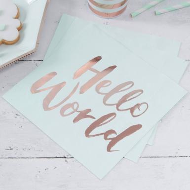 20 tovaglioli di carta Hello World menta e oro rosa-1