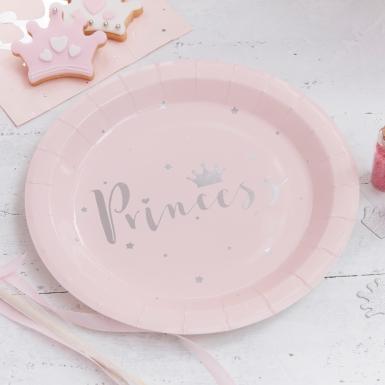 8 piatti in cartone rosa Princess 23 cm-1