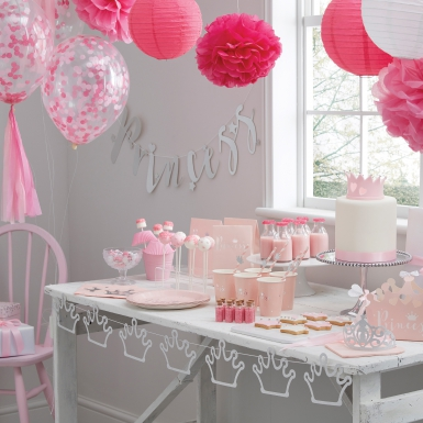 16 tovaglioli di carta rosa con corona-1