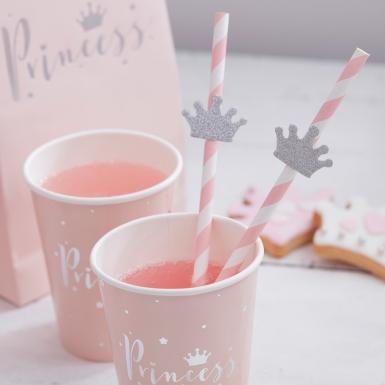 8 bicchieri in cartone rosa Princess-2