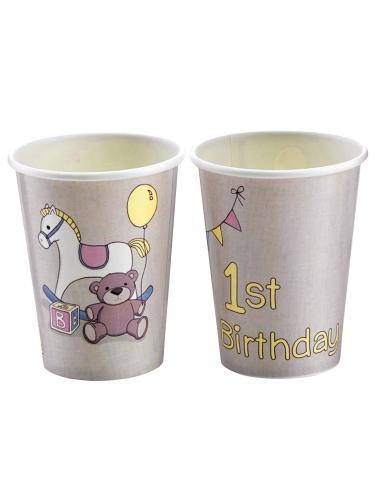 8 Bicchieri in cartone primo compleanno cavalluccio 26 cl
