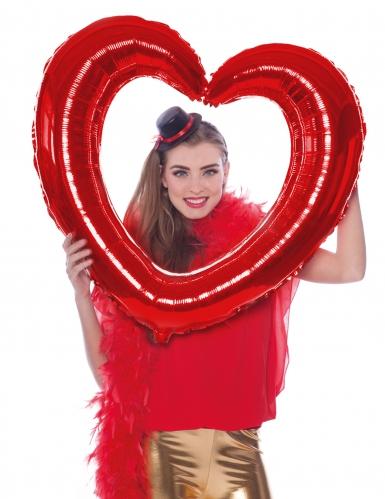 Palloncino alluminio cornice a forma di cuore rossa