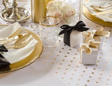 Runner da tavola in organza bianco con pois oro-1