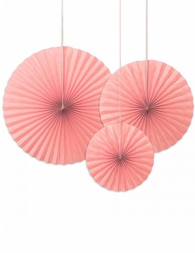 3 rosoni decorativi color rosa cipria