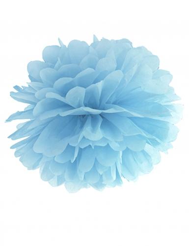 Pompom in carta da appendere azzurro 25 cm